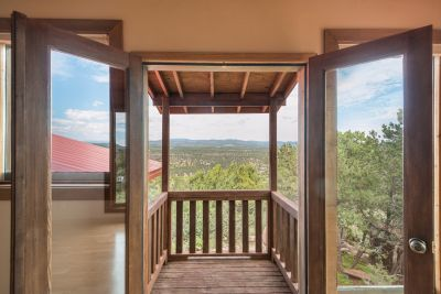 Deck off master bedroom overlooking Pecos River Valley