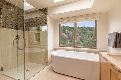 Soaking Tub and Glass Enclosed Shower