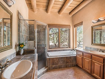 Master Bathroom enjoys 2 sinks and soaking tub and separate shower stall