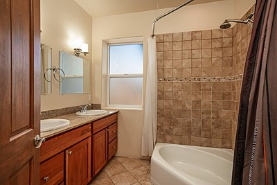 Bathroom with soaking tub/shower combo