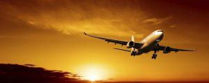 airliner landing at dusk, panoramic frame