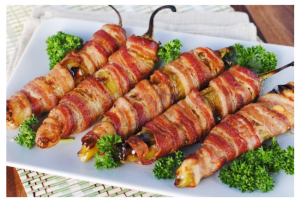 Bacon wrapped green chile